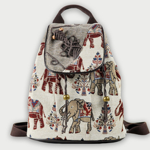 Elephant Embroidered Female Backpack Retro Tribe Floral Flowers Canvas Backpack For Girls Weave Bagpack Schoolbag Flap Daypack buckle straps flap canvas backpack
