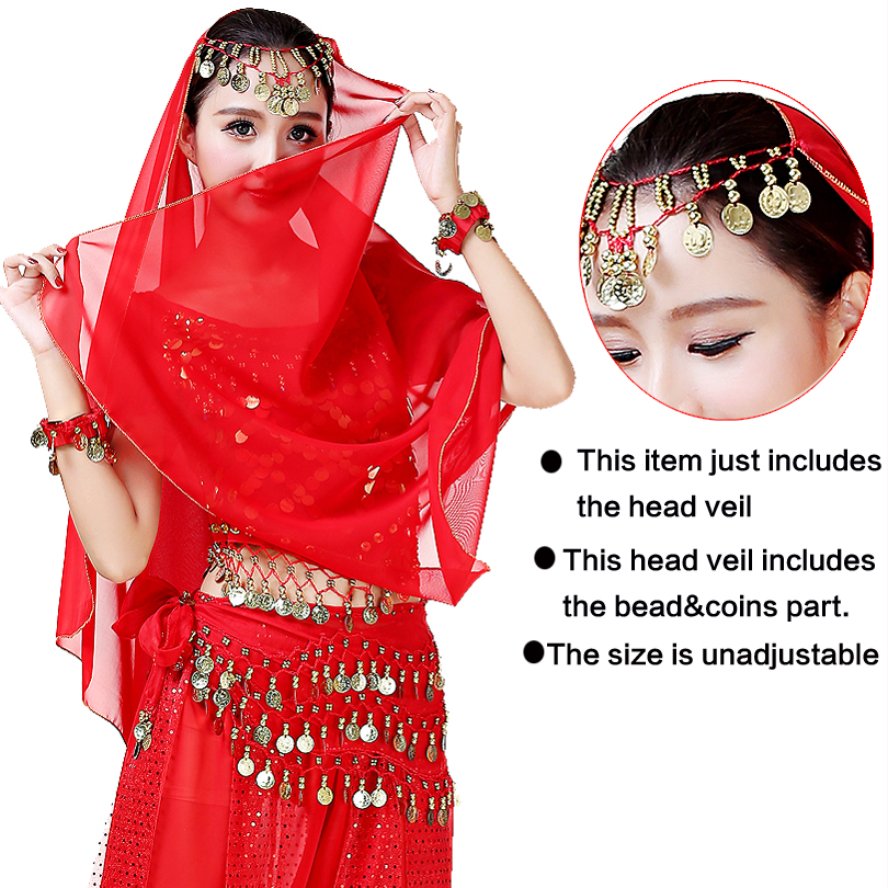 Belly Dancing Costume Head Veil Indian Face Veil Ladies Belly Dance Accessory Bollywood Carnival Performance Outfits Chiffon