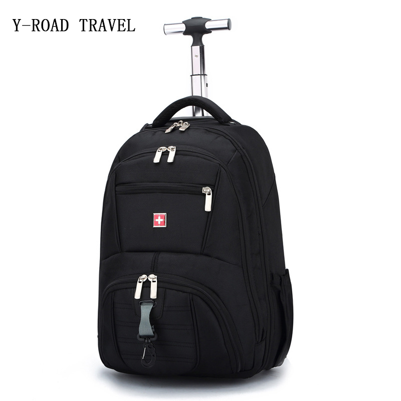 New Fashion Hot Black Trolley bag Shoulder Rolling Luggage Men and Women Oxford Travel Bag Boarding Bag Carry On Trunk Suitcase universal uheels trolley travel suitcase double shoulder backpack bag with rolling multilayer school bag commercial luggage