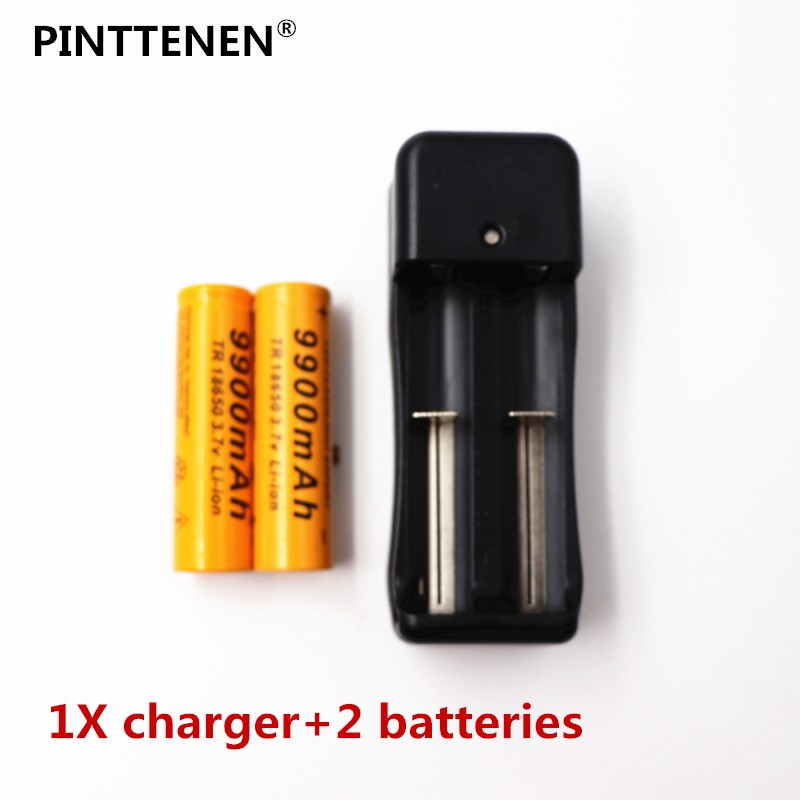 2018 3.7V 18650 Batteries 9900mAh Li-ion Rechar 9900mAh Li-ion Rechargeable Battery For Flashlight +EU Battery Charger