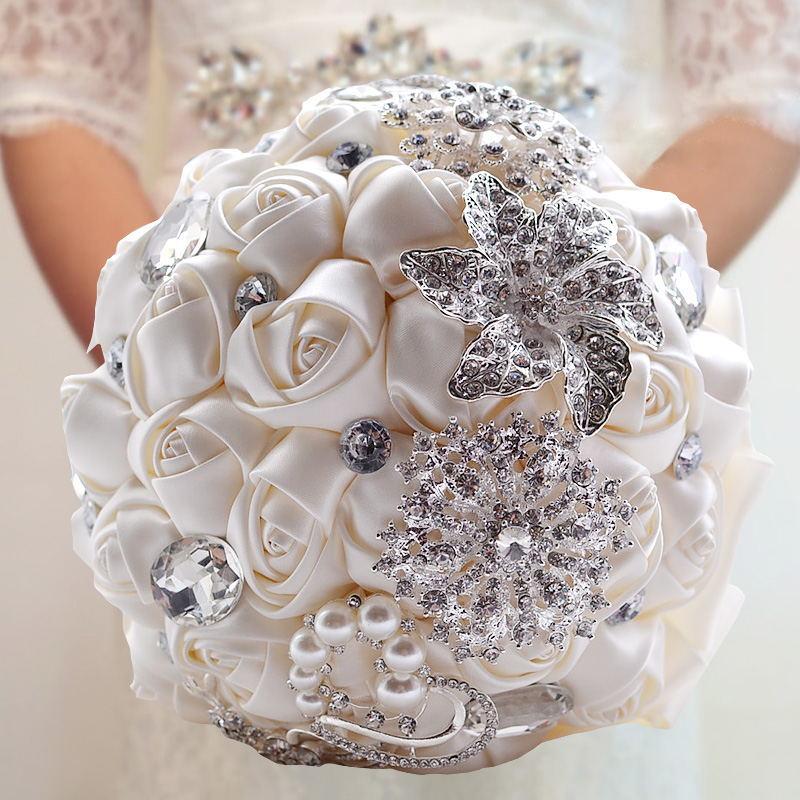Bridal Bouquet Ramos-De-Novia Flower-Rose Artificial-Flowers Crystals Handmade Stunning