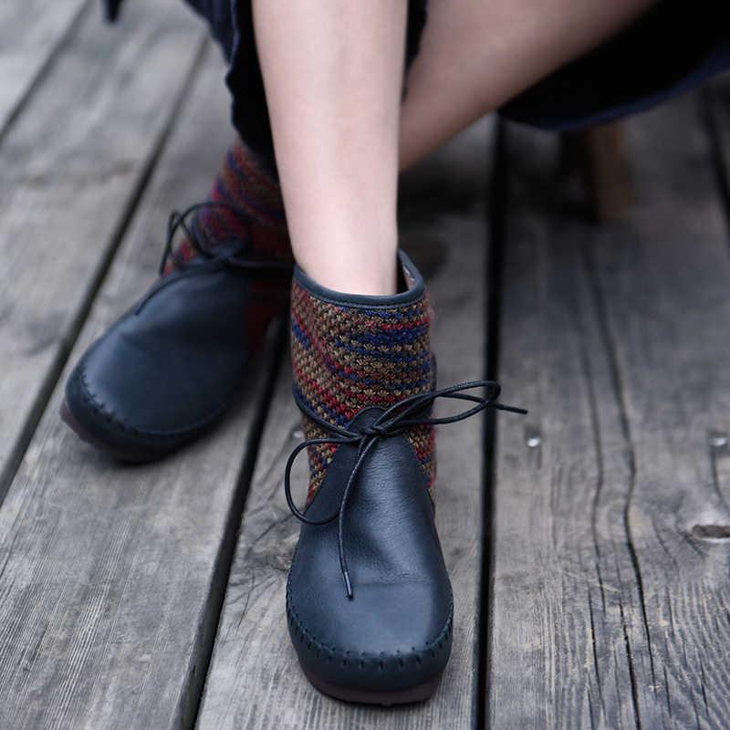 Artmu orijinal yeni sonbahar ve kış Retro kadın çizmeler hakiki deri halk tarzı yumuşak taban yarım çizmeler el yapımı düz rahat