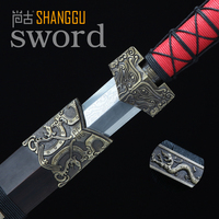 Chinese Dragon Pattern Handmade Red Handle Antique Oriental Sword. Carbon General Knight Sword. Senior Art Collection