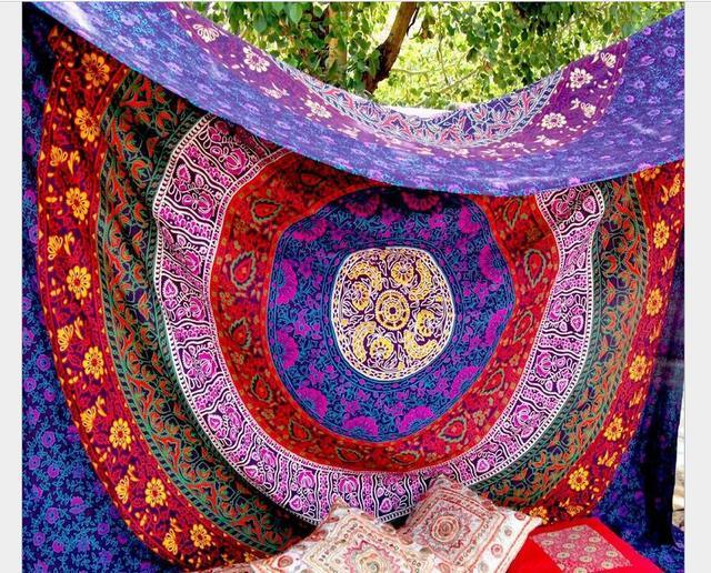 Appendiabiti Da Parete Colorati.Us 19 5 Colorati Geometrica Astratto Cerchio Fiore Modello Maya Style Rettangolo Appendiabiti Da Parete Arazzo Telo Mare In Colorati Geometrica