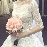 Stock wedding dress strapless court train Vestidos de novia Train Lace Applique wed bride dress Gowns Robe De Mariage
