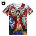Mens moda camisas t 2017 T hip hop 3D Um pedaço de Animação Dos Desenhos Animados t camisa Casual Homem camiseta Luffy marca clothing