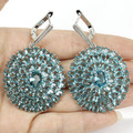 Big Size Sky Blue Topaz, White CZ SheCrown Wedding Created  Silver Earrings 59x37mm