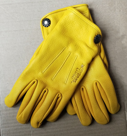 Motorcycle Gloves Deerskin Full Finger Outdoor Cycling Motocross Gloves Yellow Brown Black Gloves