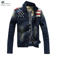 happy time American Flag Denim Jacket Men clothing Jeans Jackets coat Male Spring Autumn Stylish Star Casual for cowboy