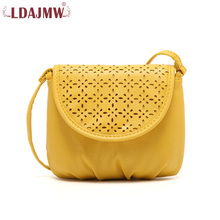 LDAJMW Hollow Out Design Small Bag Women Leather Handbags Crossbody Bags Mini Women Messenger Bag ethnic style women s crossbody bag with hollow out and color matching design