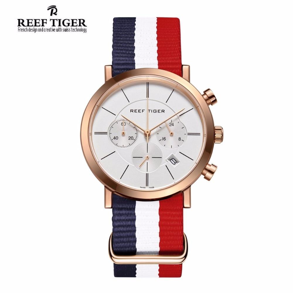 2017 New Reef Tiger/RT Luxury Nylon Strap Watches for Men Chronograph Quartz Analog Wrist Watch RGA162 yn e3 rt ttl radio trigger speedlite transmitter as st e3 rt for canon 600ex rt new arrival