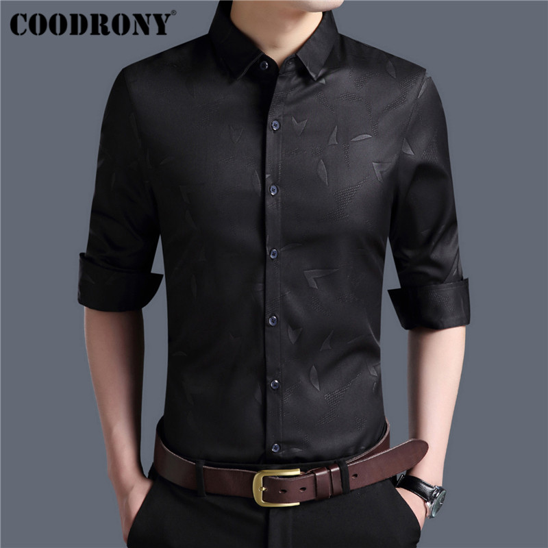 Coodrony Men Shirt Autumn New Arrival Long Sleeve Cotton Shirt Men Clothing Fashion Floral Slim Fit Business Casual Shirts 96003