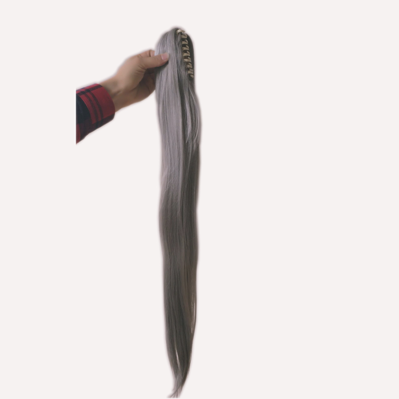 Grey Long Straight 75cm Chip Ponytail Synthetic Hair For Wig Accessory 100% Original