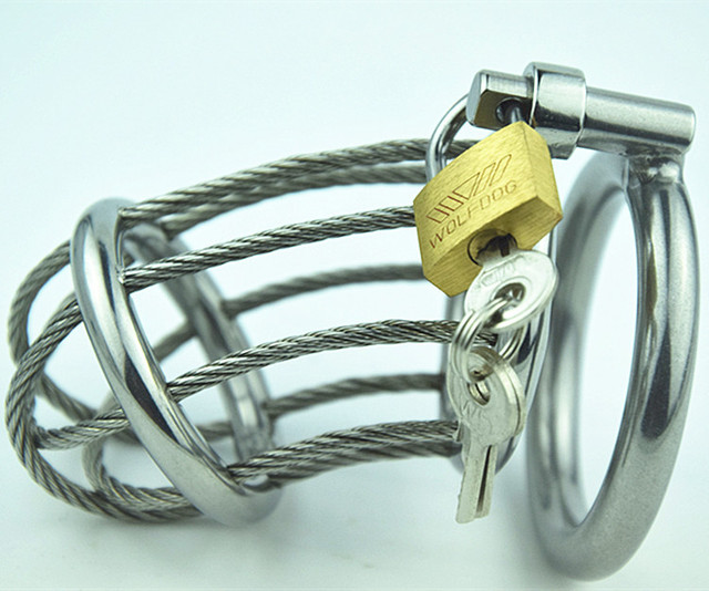 Stainless Steel male chastity device Belt Adult Cock Cage With arc-shaped Cock Ring Sex Toys Bondage Chastity device