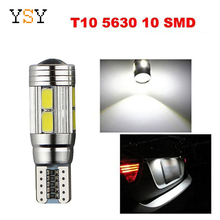 100 шт. T10 Canbus 10SMD 5630 5730 без ошибок авто светодиодный лампа W5W интерьер can-шины свет