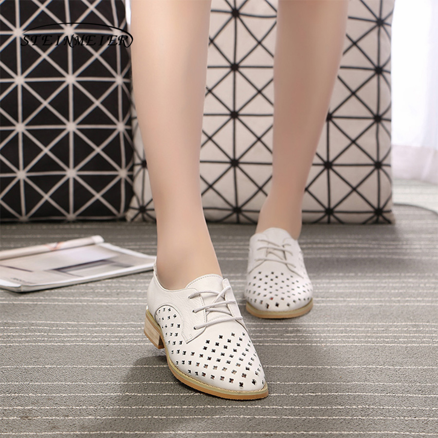 Women genuine leather tassel brogue oxford shoes woman white hollow handmade vintage retro casual flat shoes