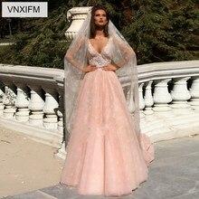 VNXIFM 2019 Uniques Designers A-Line Wedding Dresses  Train Sweetheart Sexy Lace Backless Plus Size Bridal Gowns
