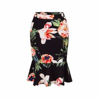 Europe And America Summer New Sexy Slim Package Hip Skirt Bottoming Lotus Leaf Fishtail Skirt Printed