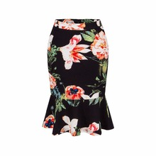 Europe and America summer new sexy Slim package hip skirt bottoming lotus leaf fishtail skirt printed women clothing plus size