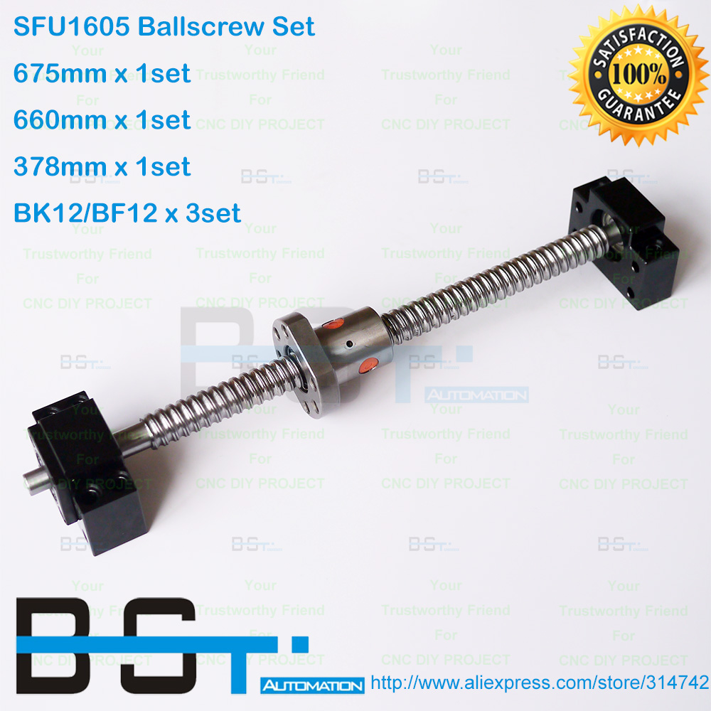 3 Lead screws ballscrews RM1605-378//660//675mm+3 BK//BF12+3 Couplings