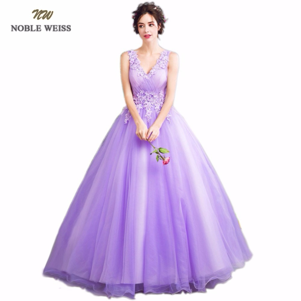 NOBLE WEISS V-Neck Appliques Ball Gown Prom Dresses 2018 Real ...