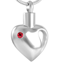 Heart Shaped Stainless Steel & Crystal Ashes Holder