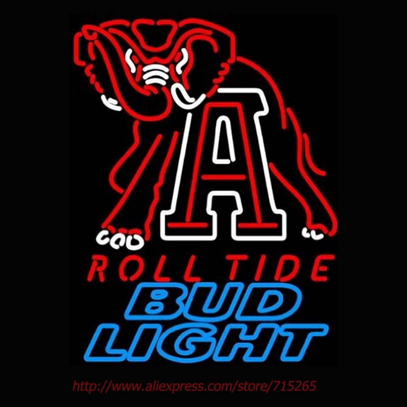 Alabama Roll Tide Neon Sign Bud <font><b>Light</b></font> Elephant Neon Bulb Glass Tube Handcraft Advertising Neon Lamp University Motel Sign 31x24