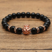 Hot Saling 3 Styles Black Stone Bead With Bling Rhinestone Bracelets For Women And Men Gold Charm Lion Silver Owl Pulseras Mujer