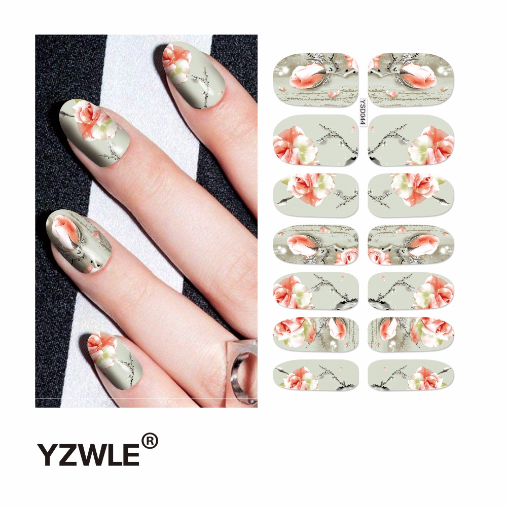 YZWLE 1 Sheet Water Transfer Nails Art Sticker Manicure Decor Tool Cover Nail Wrap Decal (YSD044) yzwle 3d french style white lace bow nail art sticker decal manicure tip nail art decoration xf ju079