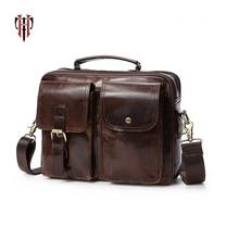TIANHOO 100% حقيبة جلدية حقيقية حقيبة للرجل حقائب جلد البقر المياه برهان حقيبة كتف متعددة المقصورة حقيبة يد للعمل