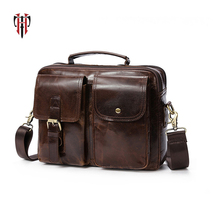 Tianhoo 100% bolsa de couro genuíno para o homem sacos couro vaca à prova água bolsa ombro multi compartimento para o trabalho
