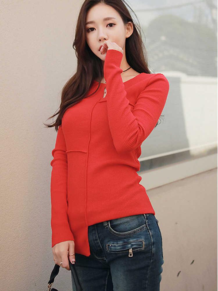 Oukytha весна осень Новая женская футболка маленький v-образный вырез сплошной Женский Топ с длинным рукавом модные футболки черный красный рубашка