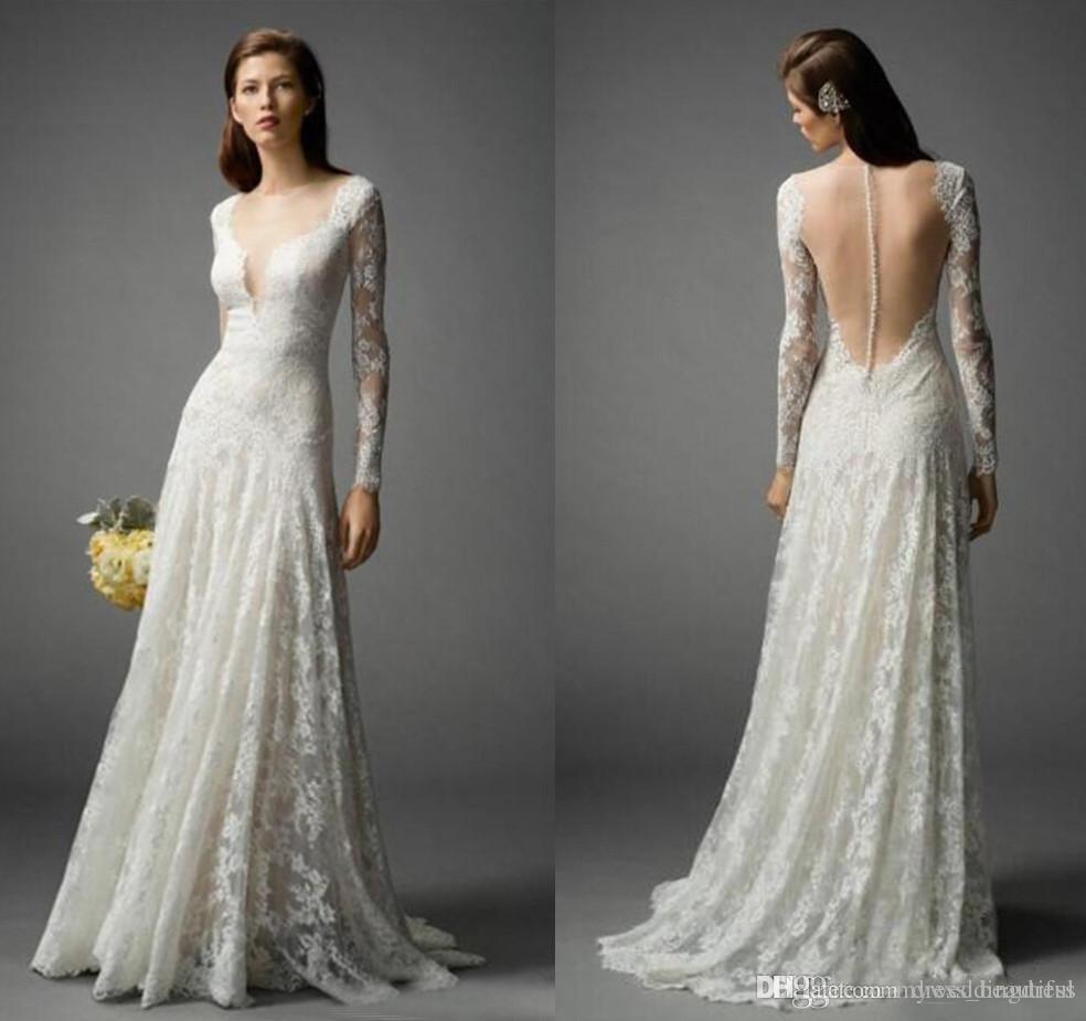 V Neck Lace Wedding Dresses: 2017 Beach Full Lace Wedding Dresses Long Sleeve V Neck