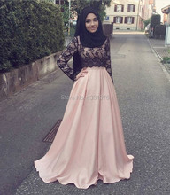 Elegant Muslim Long Sleeve Evening Dresses 2017 Islamic Abaya With Black Hijab Lace Prom Party Gowns Dubai Kaftan Robe de soiree