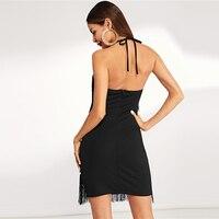 Vestido corto negro flecos halter sin mangas otoño 3