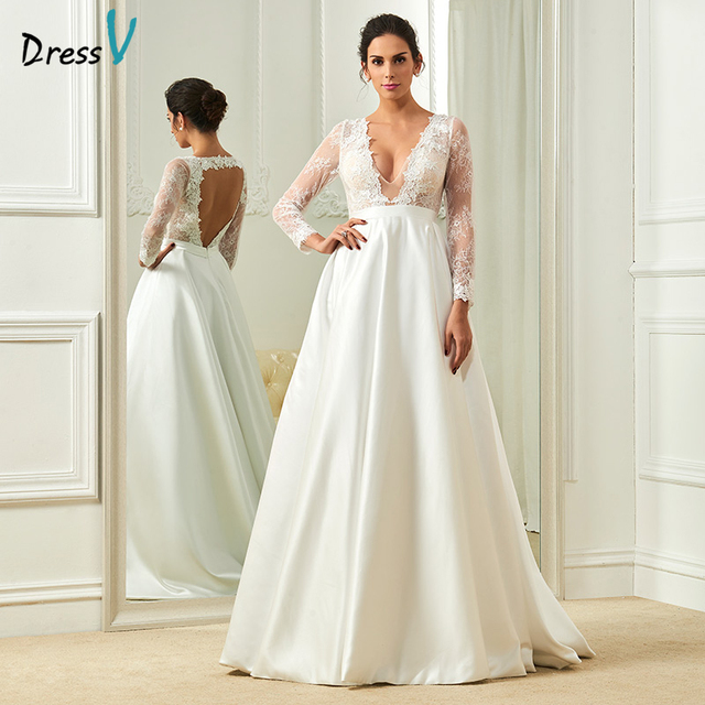 005d97245a0 Dressv ivory elegant v neck wedding dress a line long sleeves floor length  bridal outdoor church appliques lace wedding dresses