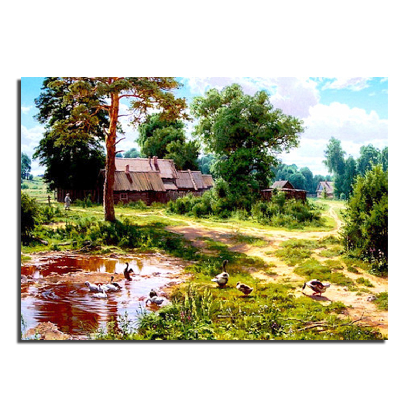 Collective farm 60X43  Wholesale DIY Diamond Painting Home Decoration Rhinestone Wall Stickers Embroidery Needlework