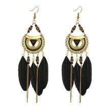 купить New Handmade Boho Feather Earrings for Women Colorful Long Tassel Drop Earrings Bohemian Jewelry Vintage Earings Fashion Jewelry дешево