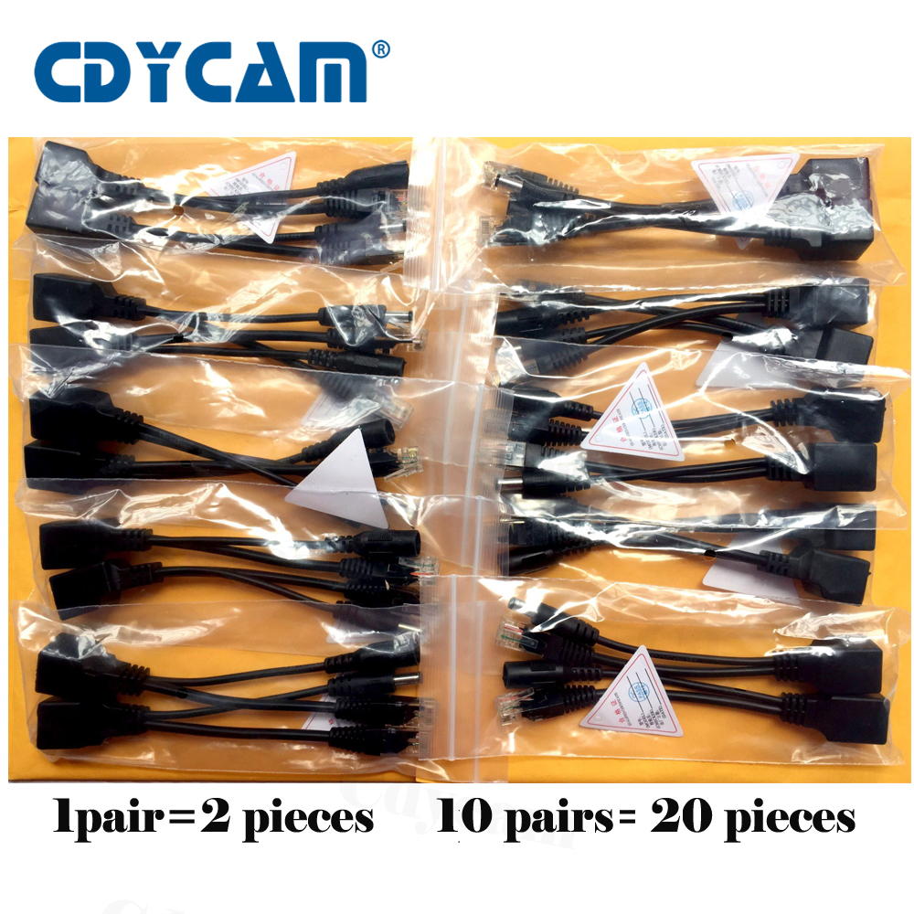 Cdycam 20pcs(10pair) POE Adapter cable screened POE switch POE Splitter Injector Power supply 12-48V separator combiner POE7010 poe adapter connector tape screened poe switch cable poe splitter injector power supply 12v synthesizer separator