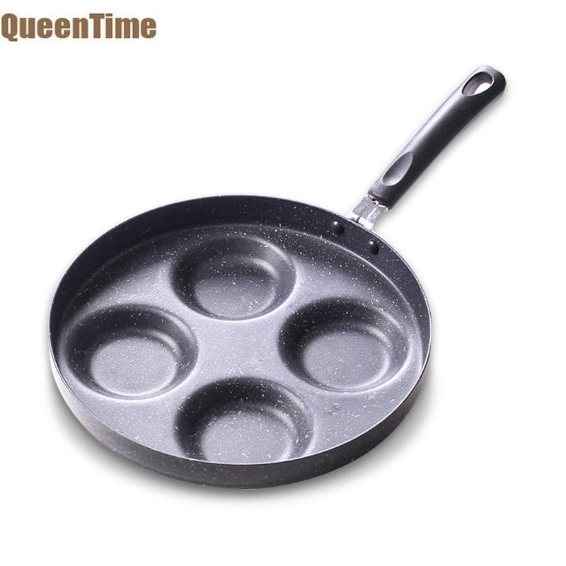 QueenTime Non-stick Egg Frying Pan Compartment Egg Cooker Pans Maifanite Coating Skillet Kitchen Cookware With Black Long Handle