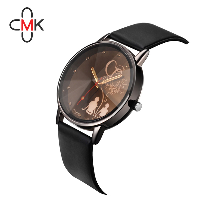 Brand CMK Simple Romantic Lover Couple black white Quartz Watches Leather strap
