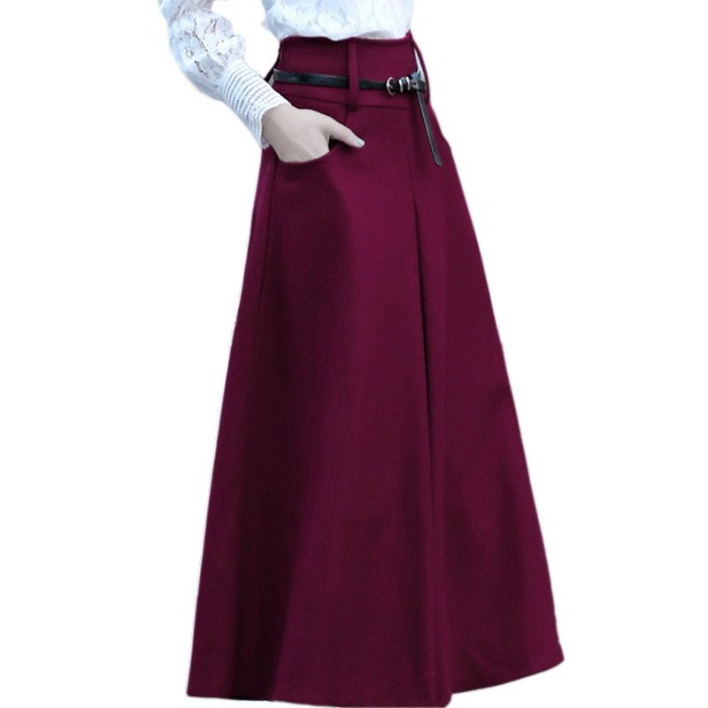 New Women Autumn/Winter Thick High Waist A-line Long Jupe Femme Vintage Skirt Woolen Saia Fashion Elegant Nice Quality TT3252 original 2017 brand autumn winter long fashion elegant slim woolen pleated skirt women wholesale