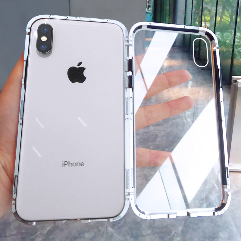 online retailer ac338 b7b9d US $12.68 |YAGOO Magnetic Adsorption phone case for iphone X 7 plus case  metal frame cover tempered glass for iphone 7 8 plus luxury fundas-in  Fitted ...