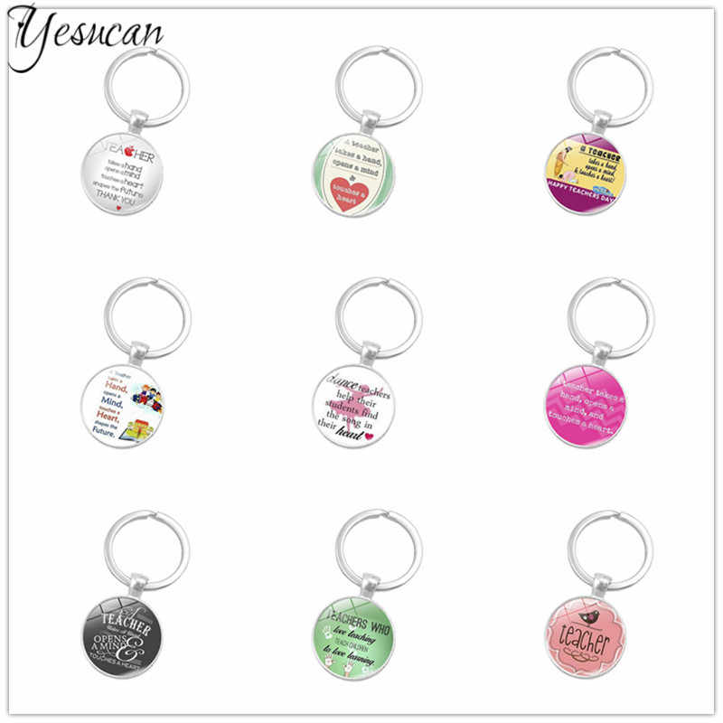 Graduation Gift For Teacher Love Heart Keychains Car keyrings Jewelry Glass Dome Metel  Key Holder Keyring Fashion Women Man