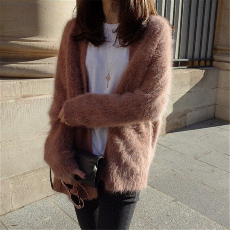 2019 Women Soft Fluffy Angola Winter warm Genuine 100 Mink Cashmere Sweater Jacket Coats Cardigan CustomFree