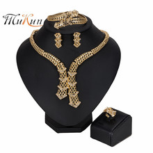 MUKUN Fashion statement Jewelry Set Exquisite Dubai Gold Colorful Nigerian Wedding woman accessories jewelry set