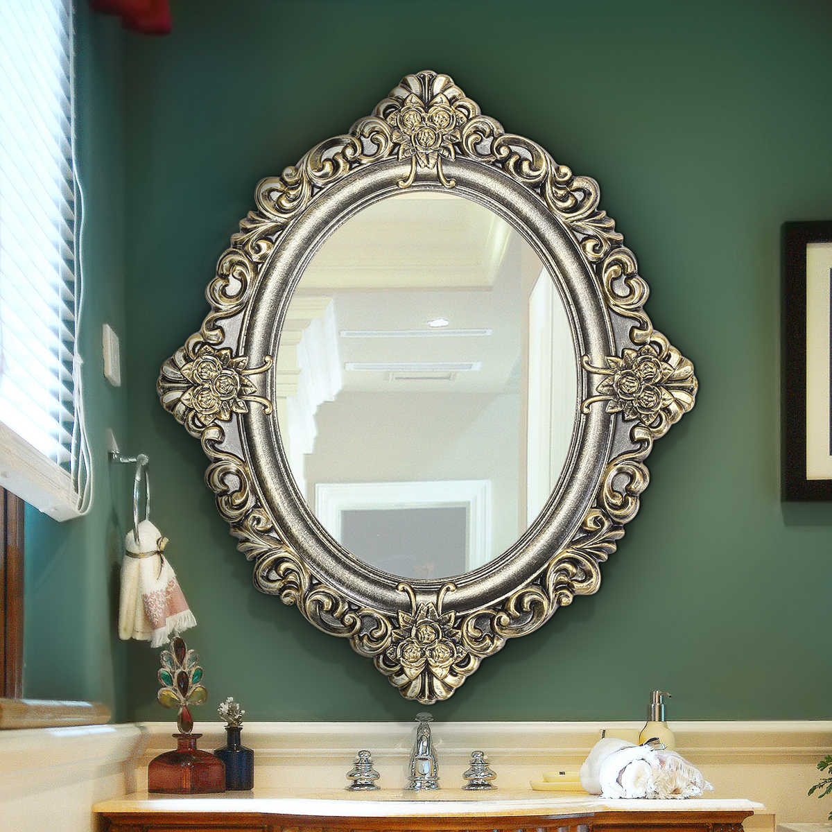 23 Inch Oval Decorative Mirrors Retro Vintage Wall Mouted