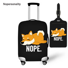 Nopersonality Black Corgi Dog Print Travel Luggage Cover Tag Elastic Suitcase Cover for 18/20/22/24/26/28/30 Trunk Case Zipper