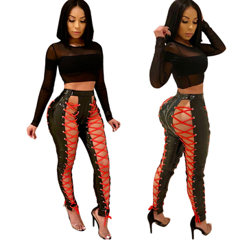 Women Pencil Sexy Pu Rivet Bandage Long Pants Stretch Pants Long Trousers Leisure High Waist Black Pu Skinny Pants