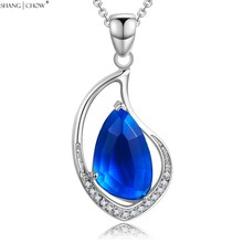 2018 Fashion Jewelry Huge Blue Crystal stone 925 Sterling Silver Pendant for women Ball Accessories bright